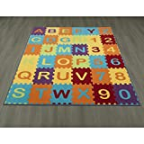 Ottomanson Garden Collection Puzzle Educational Alphabet Design Children Nursery Kid's Play Area Rug, 8'2'' X9'10'', Multicolor