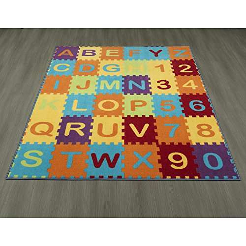 Ottomanson Garden Collection Puzzle Educational Alphabet Design Children Nursery Kid's Play Area Rug, 8'2'' X9'10'', Multicolor by Ottomanson