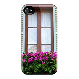 Junxcj Design High Quality Window Flowers Cover Case With Excellent Style For Iphone 4/4s