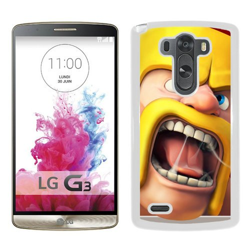 White Lg Icon (Clash Of Clans Ios Icon White Screen Cover Case Fit for LG G3,Fashion Look)