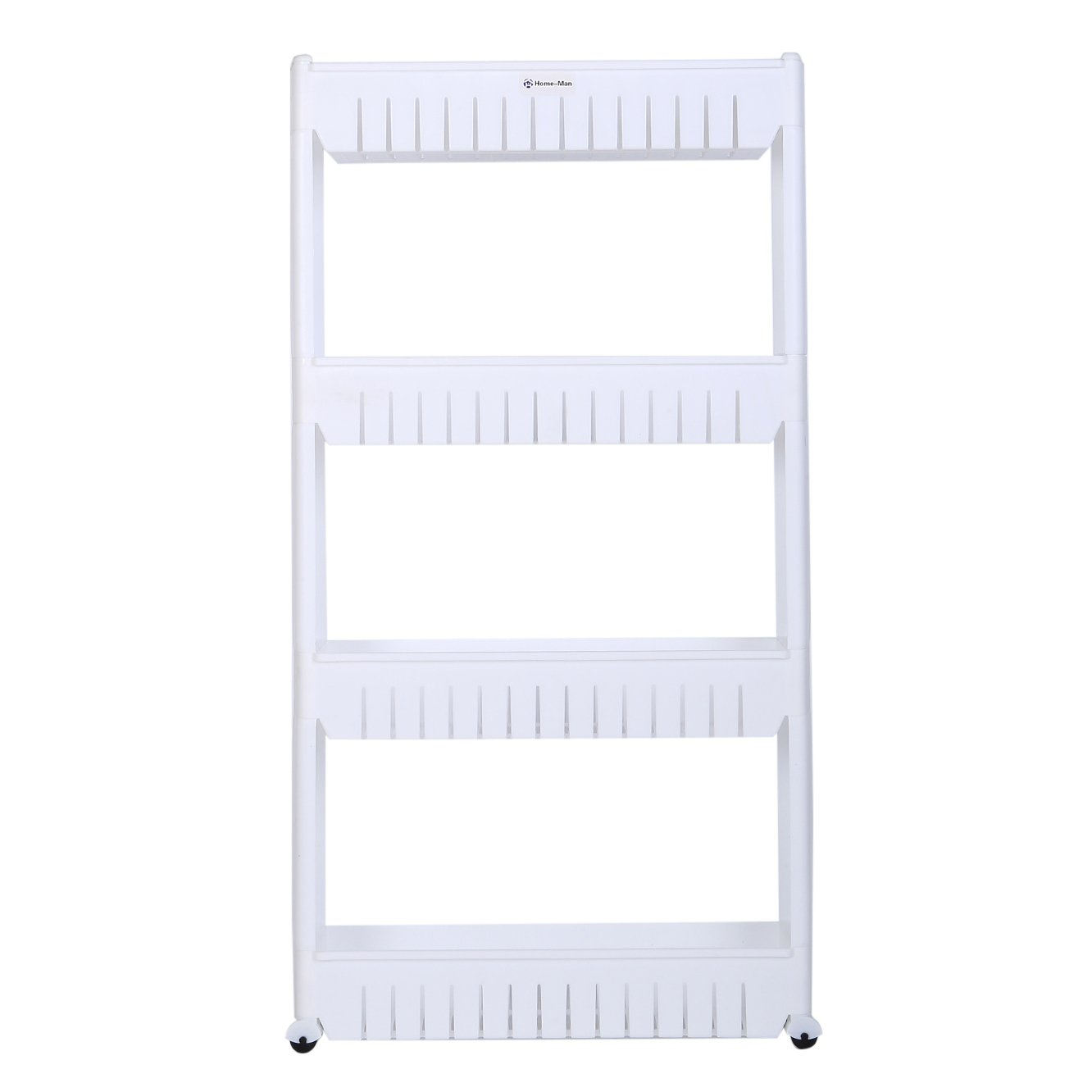 Home-Man Laundry Room Organizer 4 Tier /… Gap Storage Slim Slide Out Pantry Storage Rack for Narrow Spaces Mobile Shelving Unit Organizer with 4 Large Storage Baskets