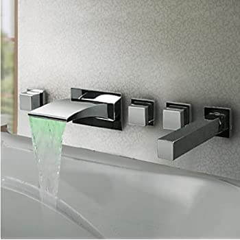 wall mount tub faucet with handheld shower. Aquafaucet 5pcs LED Colors Waterfall Bathroom Tub Faucet Wall Mounted Mixer  Tap with Hand Shower Head Greenspring Mount Bathtub Single Handle Two