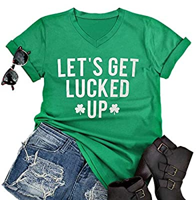 Clover Shirt Women Let's Get Lucked Up Letters Print T Shirt Funny Irish Shamrock Tee St Patricks Day Shirt