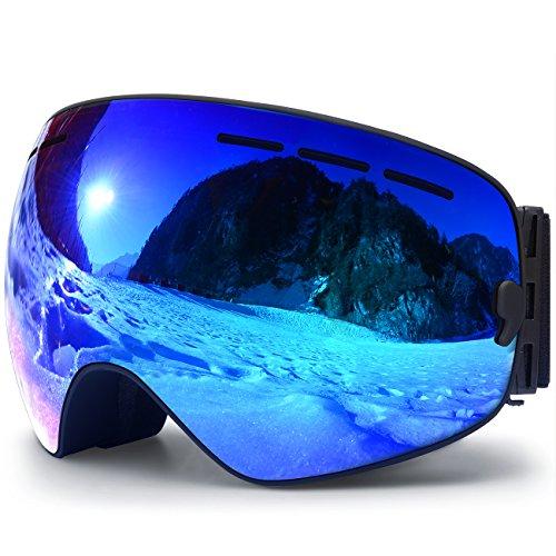 Hongdak Ski Goggles, Snowboard Goggles UV Protection, Snow Goggles Helmet Compatible for men women boys girls kids, Anti fog OTG,Black Frame Blue(VLT 18.4%) Lens Field Womens Helmet