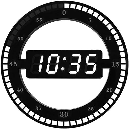 Relojes de pared LED Digital Redondo, Sala De Estar Reloj ...