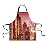 iPrint BBQ Apron,Cityscape,Dubai at Night Cityscape with Tall Skyscrapers Panorama Picture Arabian Peninsula,Pink Gold, Apron.29.5''x26.3''