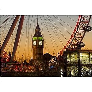 10x8 Print of London Eye (Millennium Wheel) frames Big Ben at sunset, London, England (13180261)