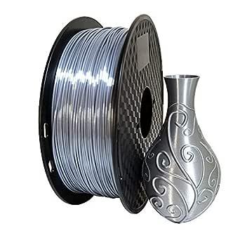Kehuashina Silk Silver PLA 1.75mm 3D Printer Filament, Metal Metallic Color Gradient Filament 1KG (2.2LBS) Printing Materials Silky Shiny PLA Metal Silver