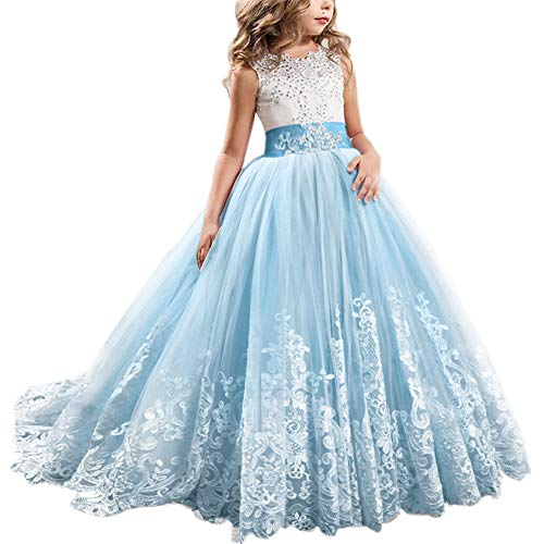 FYMNSI Flowers Girls Applique Tulle Lace Wedding Dress First Communion Birthday Christmas Prom Ball Gown Sky Blue 12-13T -