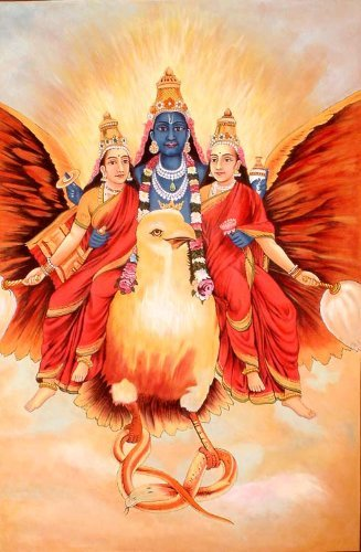 Exotic India Vishnu with Bhu and Sri Water Color Painting
