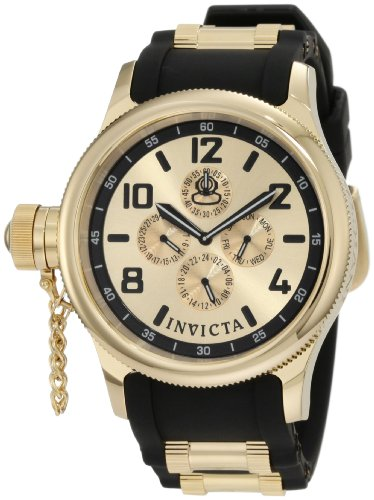 Invicta Men's 1803 Russian Diver Gold Dial Black Polyurethane - Invicta Diver Edge Coin