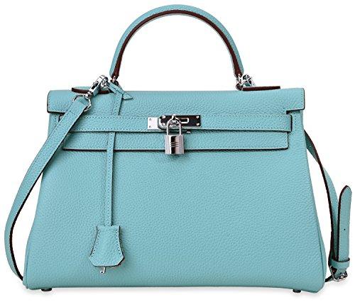 Cherish Kiss Women's Genuine Leather Tote Bag Shoulder Padlock Handbags with Silver Handware Powder blue K32