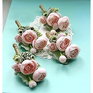 Artificial Succulent Boutonniere Bouquet Corsage Wristlet Vintage Silk Fake Pink Flowers flocked Plants For Wedding Decor 4 Pcs 3