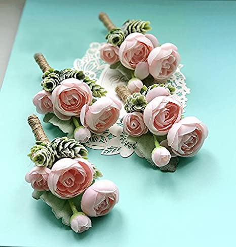 Suculenta Artificial ramo de boutonniere corsé correa de muñeca Vintage Seda Plantas flocado Artificial rosa flores para boda Decor 4 Pcs: Amazon.es: Hogar