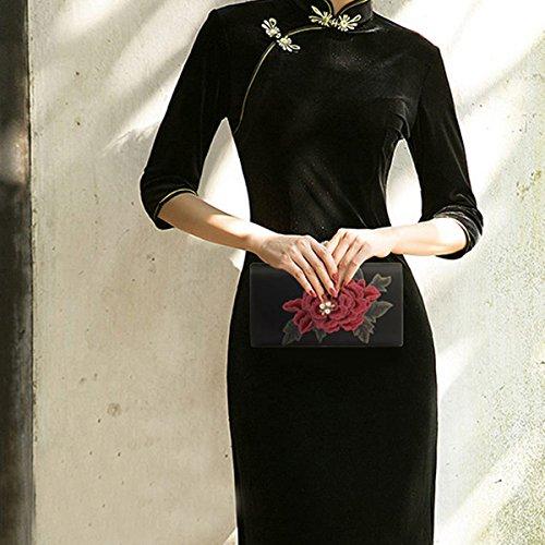 mariage 1 la Noir soirée fête fleur sac monnaie Flada porte de femmes pochettes de pour soie rouge OqaFW4AFv