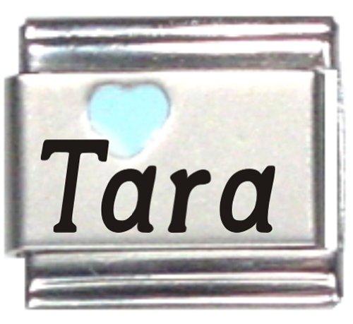 Tara Single Light - Tara Light Blue Heart Laser Name Italian Charm Link