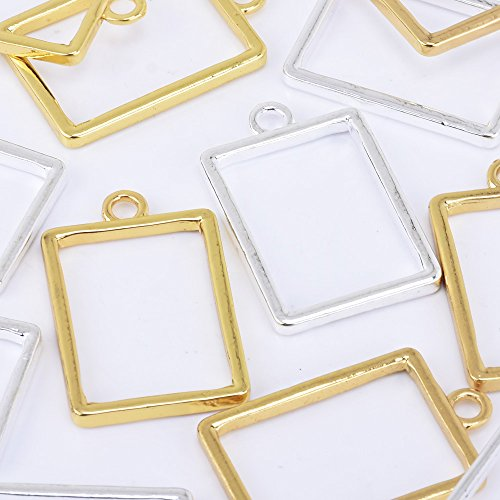 32x24mm Open Back Resin Pendant Rectangle Charms Open Bezel Setting,Sold 10pcs/lot,Gold -