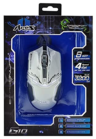 cb83d16fbaf Amazon.in: Buy Dragonwar ELE-G10 Aries Blue Sensor Gaming Mouse with Macro  Function (White) Online at Low Prices in India   Dragonwar Reviews & Ratings