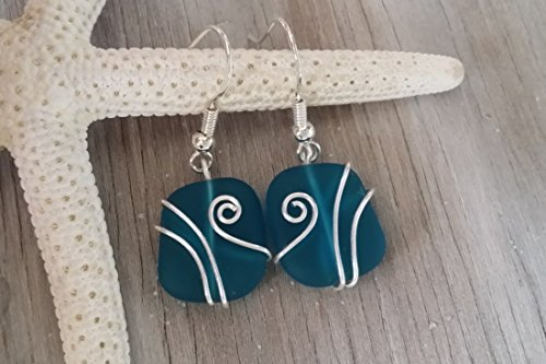 Handmade in Hawaii teal blue wire wrapped sea glass earrings Hawaii Gift Wrapped Customizable Gift Message