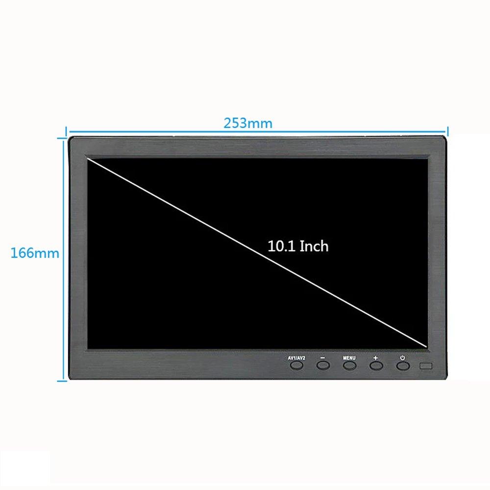 Kenowa 10.1 inch TFT LED Portable Monitor 1366 x 768 with HDMI VGA BNC AV USB port Built in Speaker for Car Backup Camera PC TV Camera Raspberry Pi Window 7 8 10 OS etc