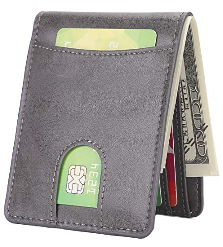 Mens Slim Front Pocket Wallet ID Window Card Case with RFID Blocking - Gray with Quick Slot