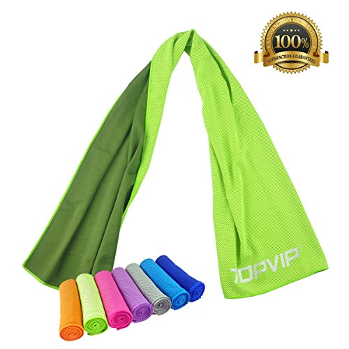 Cooling Sport Towels Instant Cooling Towel for Hiking Camping Travel Outdoor Workers Sports Athletes Baby Dogs Care Fitness Tennis Golf Yoga&More Chilling Relief Quick Dry by TOPVIP (Green)