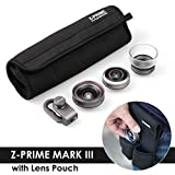 Ztylus Z-Prime Universal Lens Kit Mark III + Water Resistant Lens Pouch, 3 in 1 Lenses - Apple iPhone XS MAX/XS/X/8 Plus/7 Plus (Ultimate Super Wide Angle + Wide Angle + Macro + Aluminum Lens Adapter)