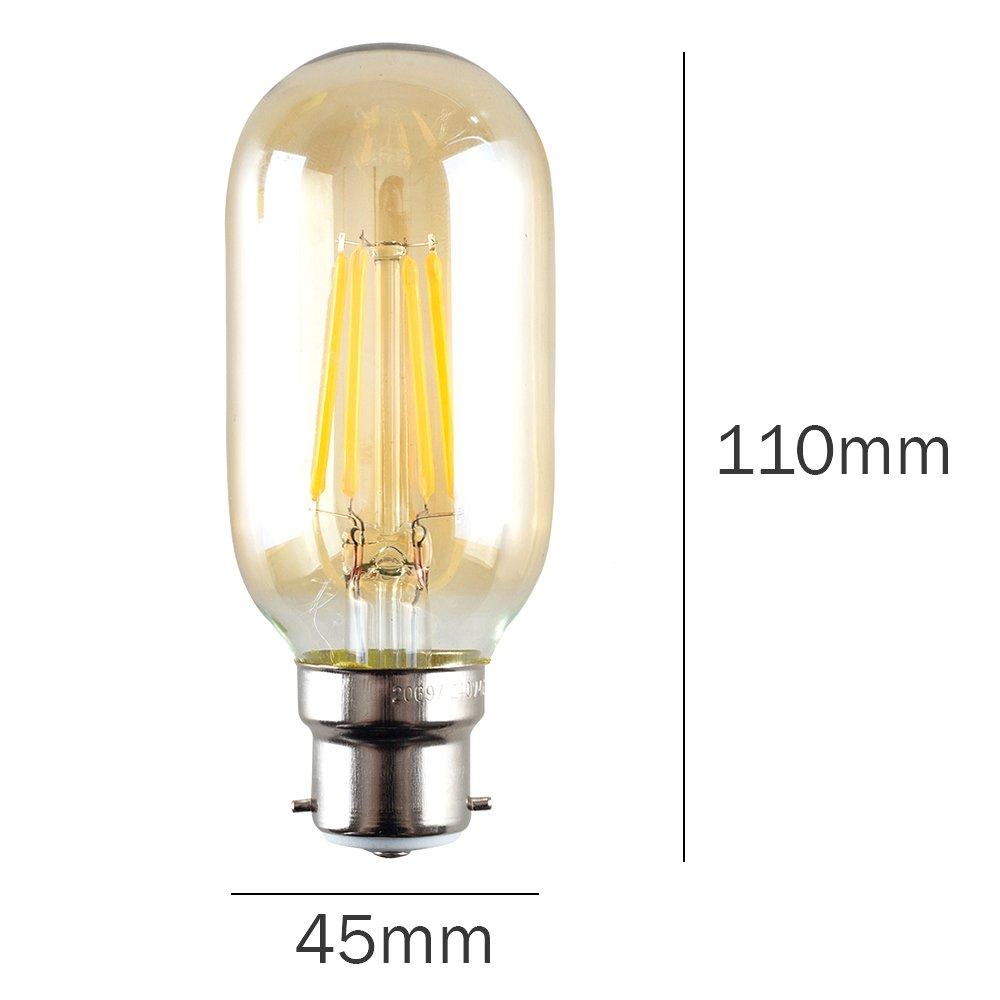 2700K Warm White / Pack of 3 MiniSun Retro Style 4w LED Filament ES E27 Radio Valve Amber Tubular Light Bulbs Energy Class A+
