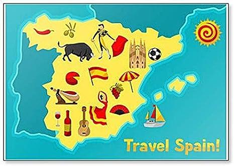 Mapa de España con símbolos y objetos tradicionales españoles imán clásico para nevera: Amazon.es: Hogar