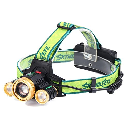 Headlamp Odeer ZOOM 15000Lm Headlamp CREE XM-L 3 x T6 LED Headlight 18650 Light Charger - Film Tint Eyeglass