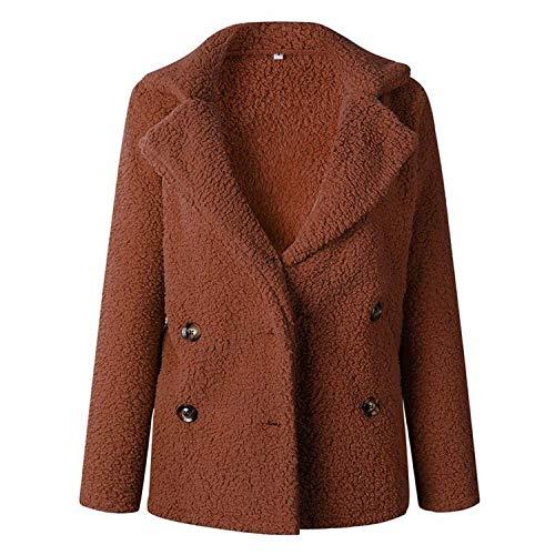 Winter Woolen Women Jacket Long Sleeve Jackets Double Breasted Warm Coat Overcoat,Medium,Caramel