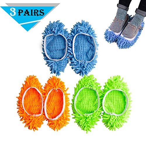 Kamlif 3 Pairs Washable Dust Mop Slippers Microfiber Cleaning Mop Slippers Shoes Dust Floor Cleaner Multi-Function Floor Cleaning Shoes Cover (Green,Blue,Yellow 3pairs)