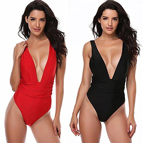 Fascigirl Damen Badeanzug Einteiliger Bikini Sexy Volltonfarbe Vintage Bademode Anzug Für Frauen Mädchen Red L JVpq4a8q1