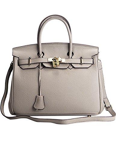 CUKKE Damen Echtes Leder Handtasche Elegant Taschen 25cm Gelb Grau M