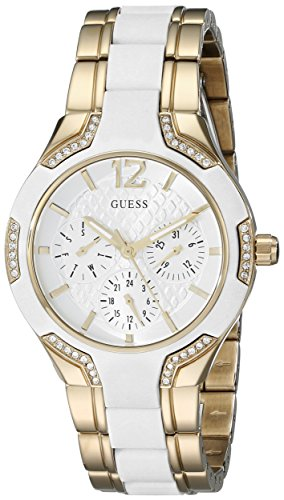 GUESS Women's U0556L2 Sporty Gold-Tone Watch with White Dial , Crystal-Accented Bezel and White Center Link Pilot Buckle