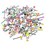 Oasis Plus 100PCS 16g 316L Surgical Steel Monroe Labret Ring Lip Chin Stud Tragus Earring Bar Body Piercing Jewelry