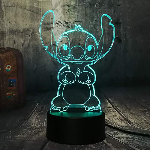 New Cartoon Cute Stitch Figure Friends 3D LED Night Light 7 Color Change Baby Sleep Table Lamp Home Decor Holiday Kids New Year Christmas Gift(Stitch)