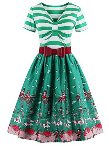 FAIRY COUPLE 50s Vestido Retro del Oscilación de la Impresión Floral del V-cuello de la Vendimia con la Correa DRT042 Verde