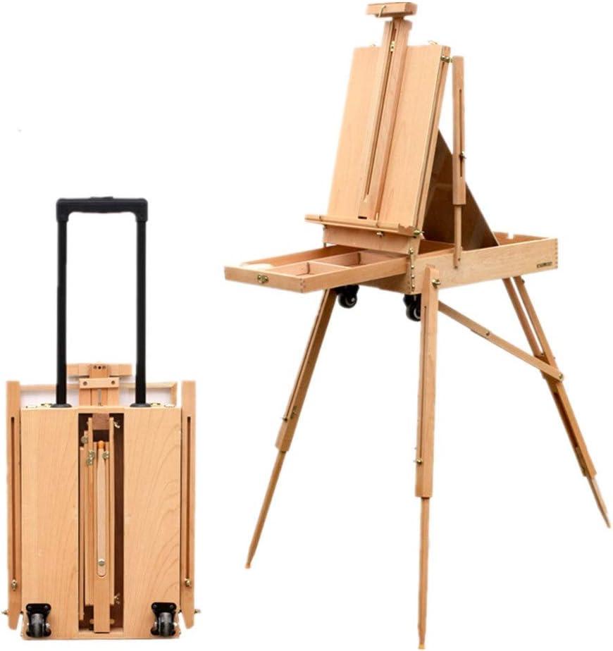 Caballete de madera Aceite multifuncional portátil Pintura Caja de Herramientas de la barra de tiro caballete Pintura Caja de bocetos portátil caja de pintura al óleo Ideal para bocetos portátiles: Amazon.es: Hogar
