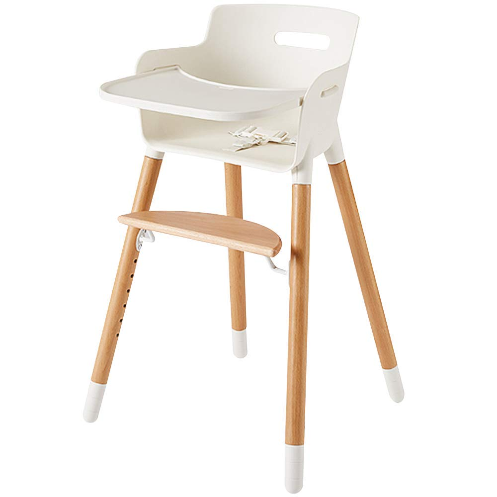 1651118c3561 Amazon.com : Wooden High Chair for Babies and Toddlers - with Harness,  Removable Tray, and Adjustable Legs : Baby