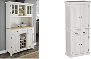 Buffet of Buffets White with Natural Wood Top with Hutch by Home Styles & Nantucket Pantry - White Distressed Finish