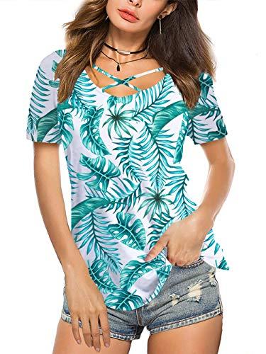 Amoretu Women Tops Summer Leaf V Neck Front Cross T Shirt Loose Fit(Green,XL)