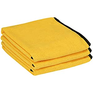Utopia Towels Professional Grade Premium Microfiber Towel (3 Pack, 16 x 24 Inches, Gold with Black Silk Edges) - Highly Absorbent Ideal for Cars and Vehicles