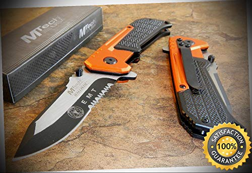 MTech BALLISTIC SPEED Assisted Opening ORANGE and BLACK EMT Linerlock Knife - outdoor for camping hunting - Point Blank Ballistics