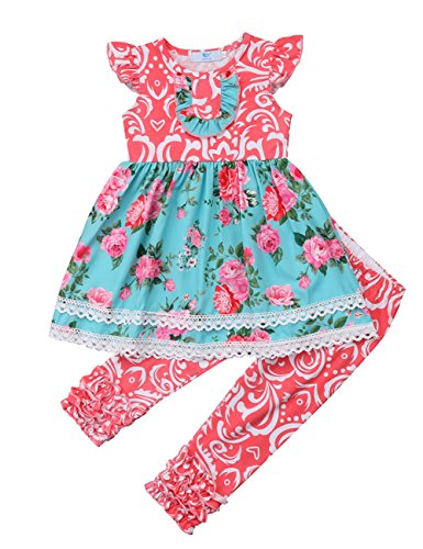 Toddler Girl Kids Summer Floral Dress Top and Ruffles Pants Outfit Set (4-5T, Pink)