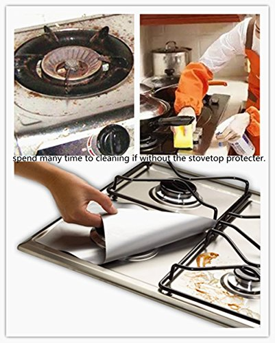 Gas Stove Protective, BeeSpring 6 Pcs Stove Mat Reusable Stovetop Protectors Non-Stick Cushion Stovetop Burner Protector Liner, Anti Fouling, Kitchen Home Resistant Gas Hob Liner- silvery color (Floor Gas Range)