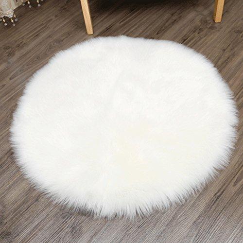 YJ.GWL Faux Sheepskin Rug Cozy Shaggy Floor Mat Round Silky Plush Carpet Home Decorator Faux Fur Area Rugs (4' Diameter,White)