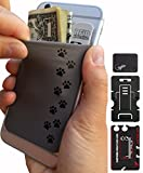 Phone Wallet - Adhesive Card Holder - Cell Phone Pouch - Stick on Lycra Pocket by Gecko - Carry Credit Cards and Cash - RFID Protection Sleeve – Dog Paws