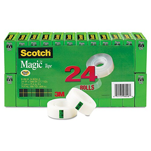 Scotch 810K24 Magic Tape, 1'' Core, 3/4''x1000'', 24/PK, Transparent by Scotch