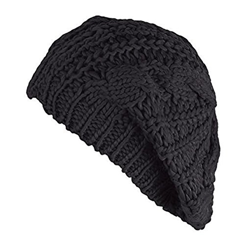 Senchanting Women Lady Winter Warm Knitted Crochet Slouch Baggy Beret Beanie Hat Cap (Black) One size